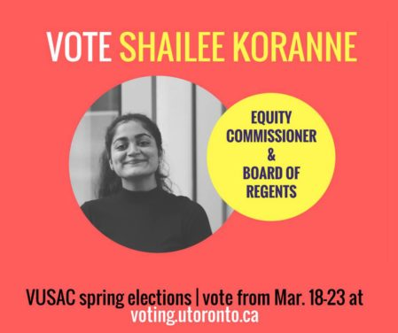 VUSAC elections 2017: Shailee Koranne, Equity Commission, Board of Regents candidate