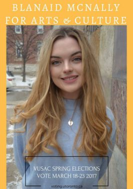 VUSAC elections 2017: Blánaid McNally, Arts and Culture candidate